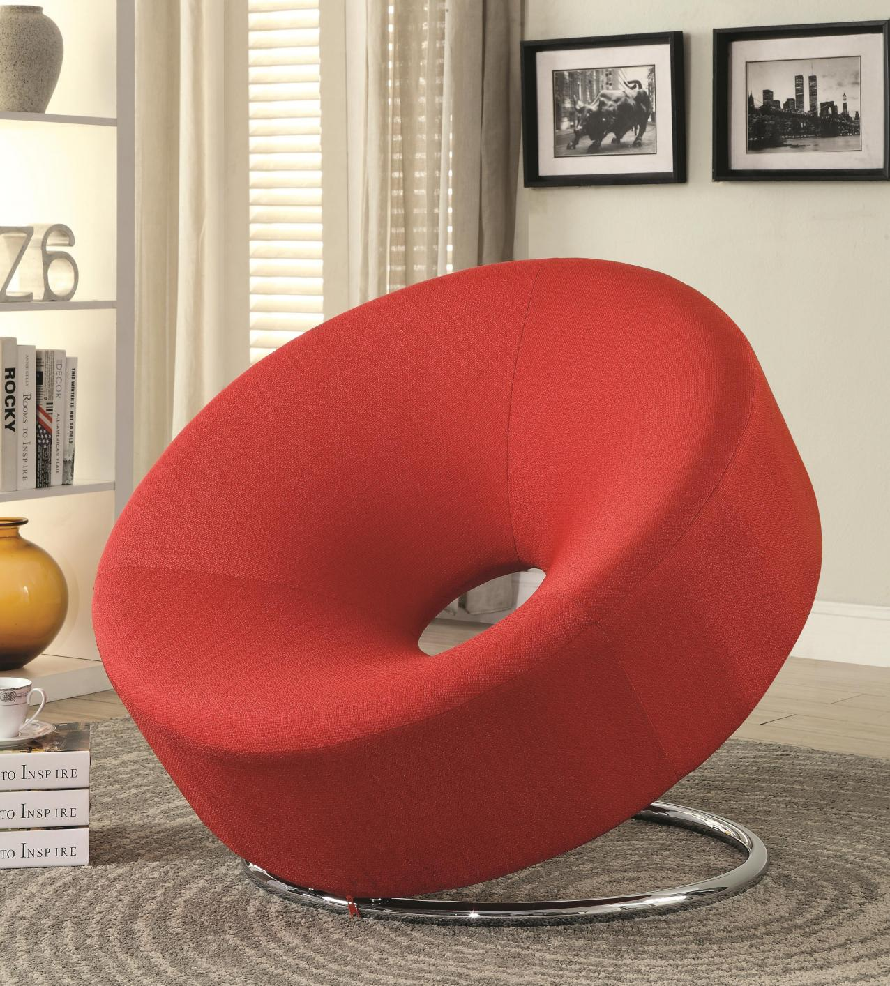 Contemporary Red Pattern Accent Chair Creative