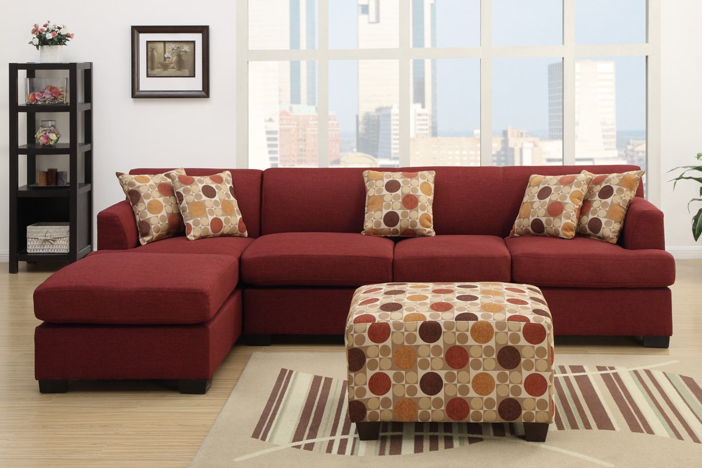 red fabric chaise lounge - Living Room Furniture Los Angeles