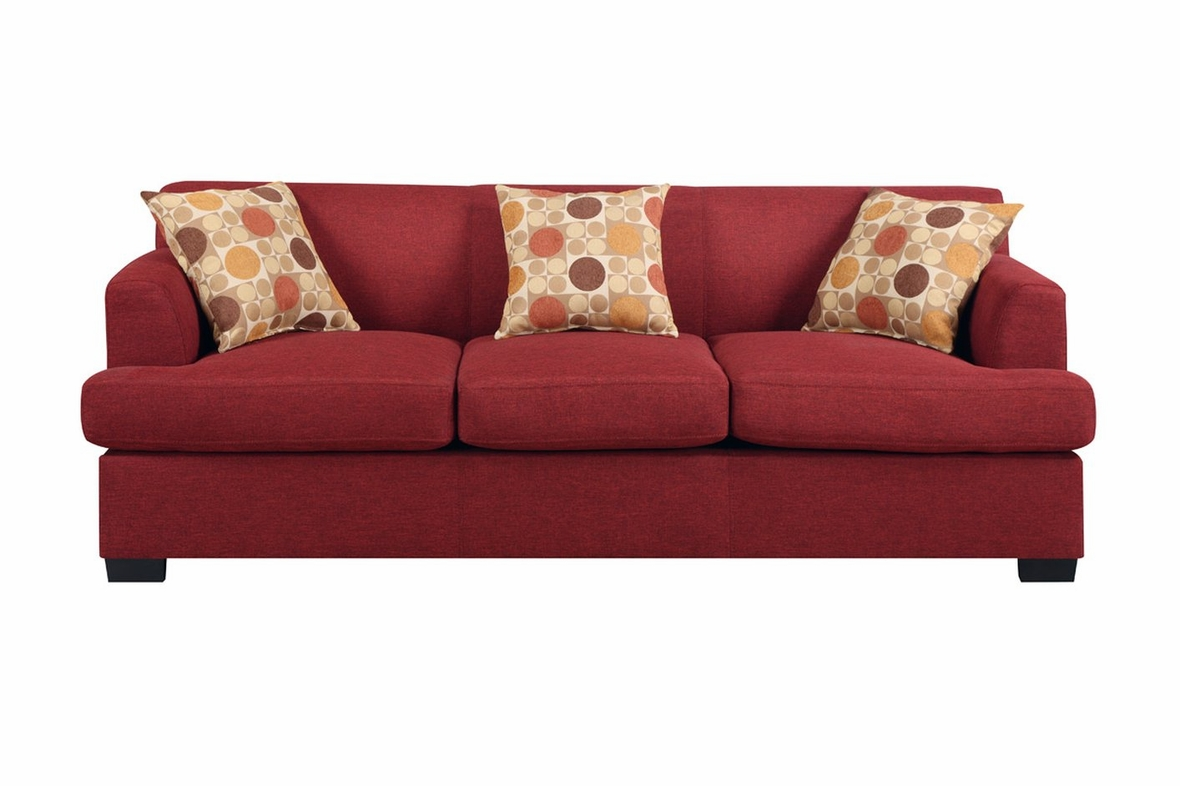 Poundex Montreal Iv F7963 Red Fabric Sofa Steal A Sofa