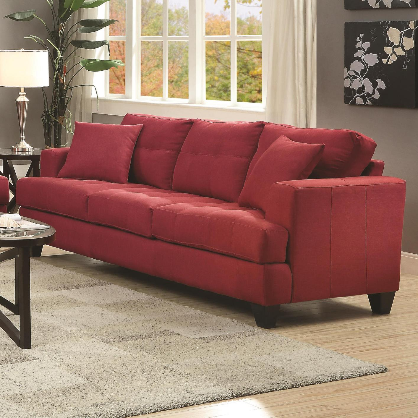 Red Fabric Sofa Divani Casa Tejon Modern Red Fabric Sofa