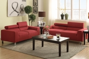 Red Fabric Sofa and Loveseat Set