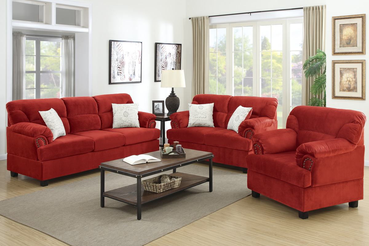 red wood sofa loveseat and chair set - steal-a-sofa furniture