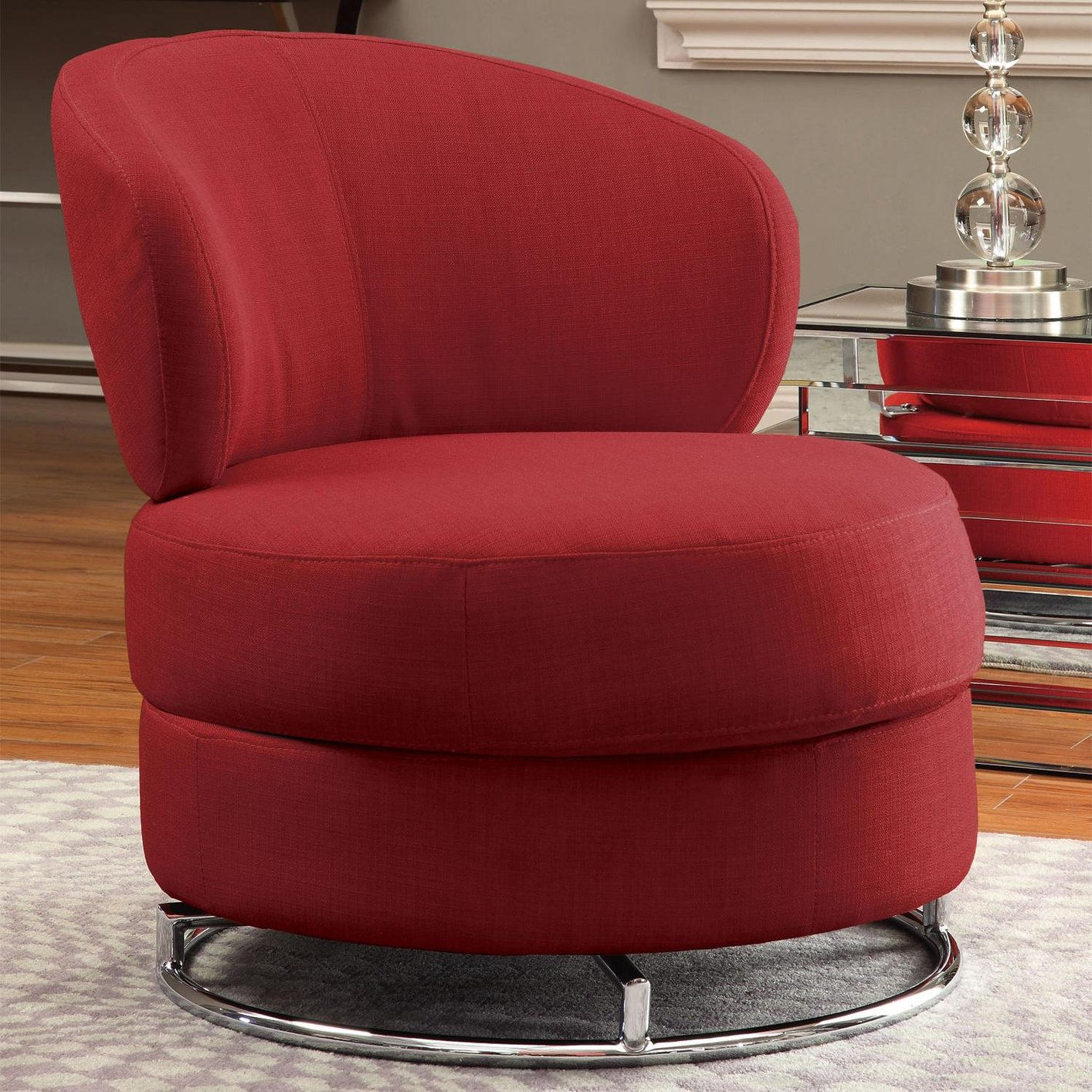 Red swivel chair chairs seating for Furniture 90036