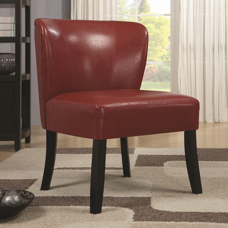 Small Red Leather Accent Chair: Steal-A-Sofa Furniture Outlet