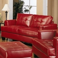 Samuel Red Leather Loveseat