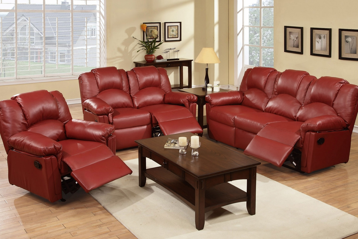 Red Leather Reclining Loveseat Steal A Sofa Furniture