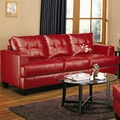 Samuel Red Leather Sofa