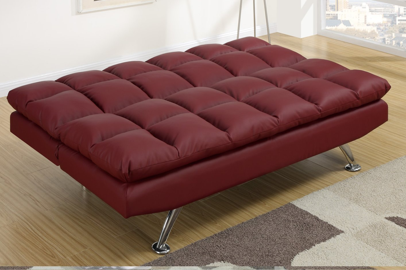 Red Leather Twin Size Sofa Bed Steal A Sofa Furniture