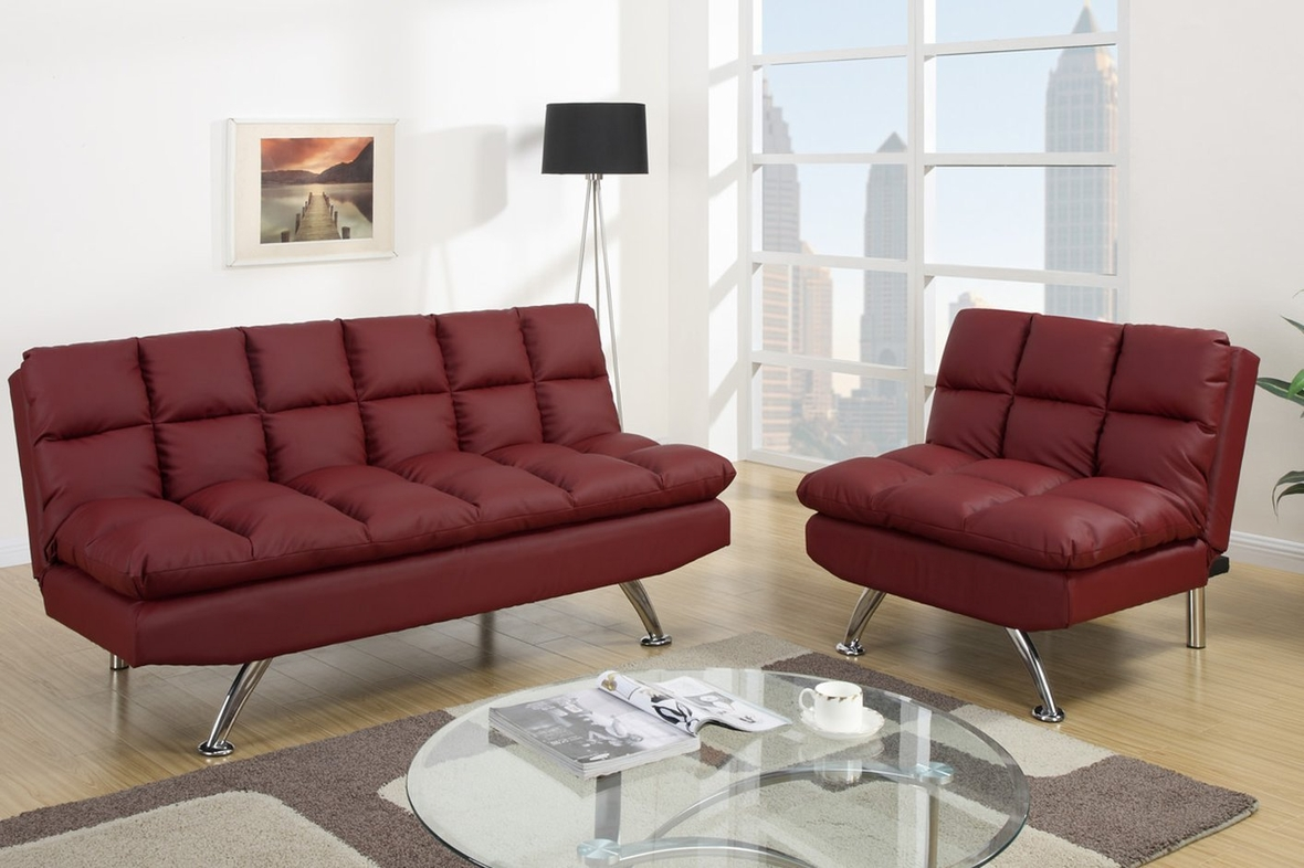 Poundex f7017 red twin size leather sofa bed steal a for Twin sofa bed