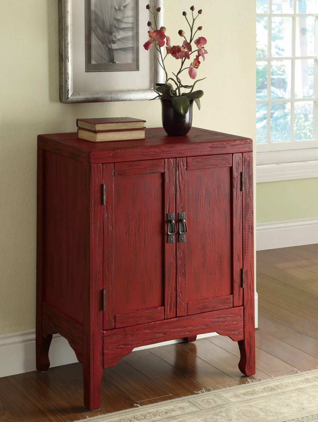 Red Wood Accent Cabinet Steal A Sofa Furniture Outlet
