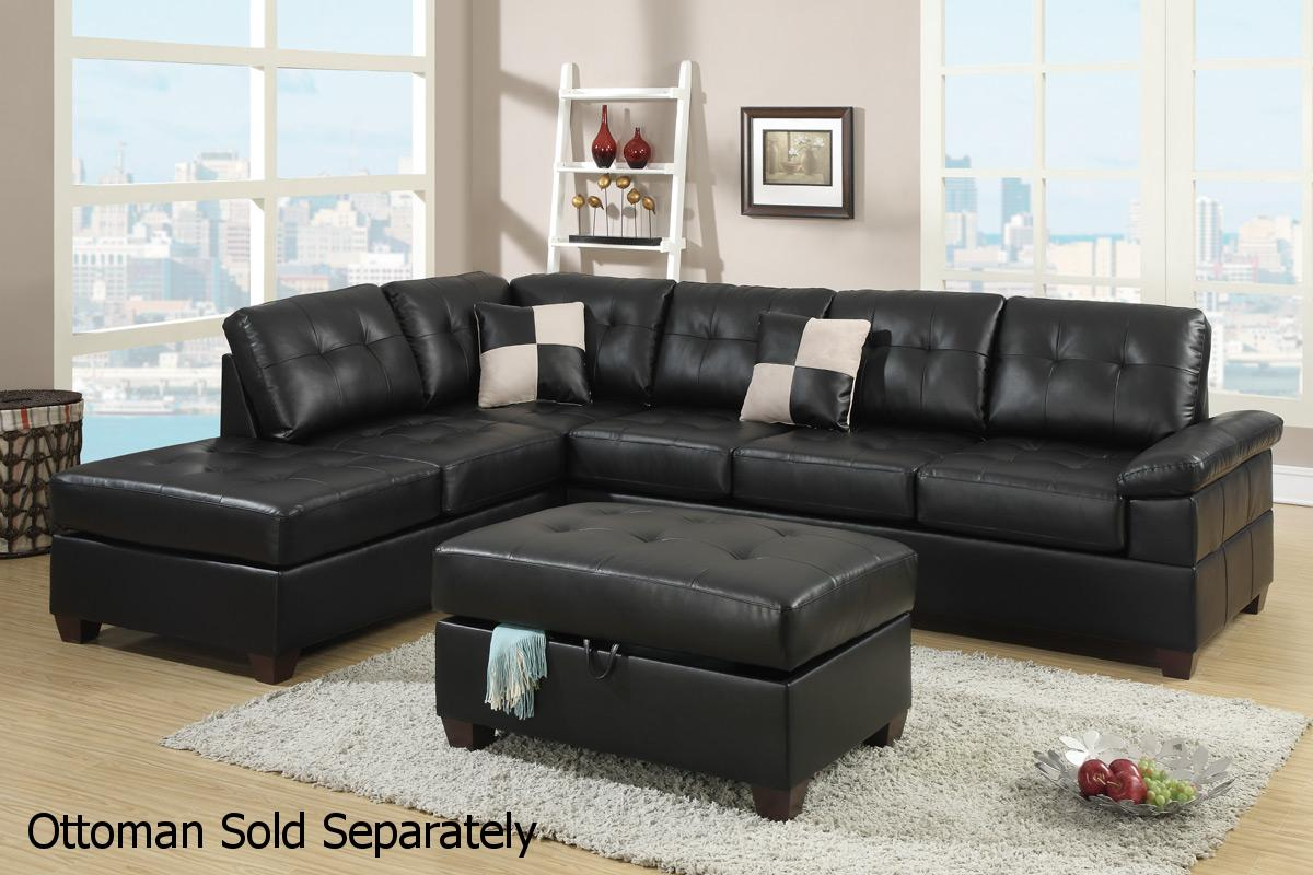 Poundex reese f7519 black leather sectional sofa steal a for Sectional couch