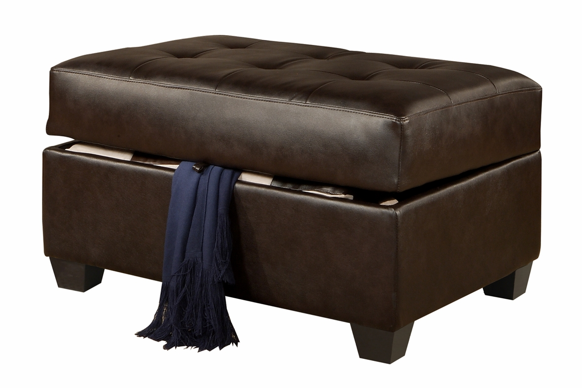 Ottomans Brussels Brown Bonded Leather Storage Chest: Brown Leather Sectional Sofa