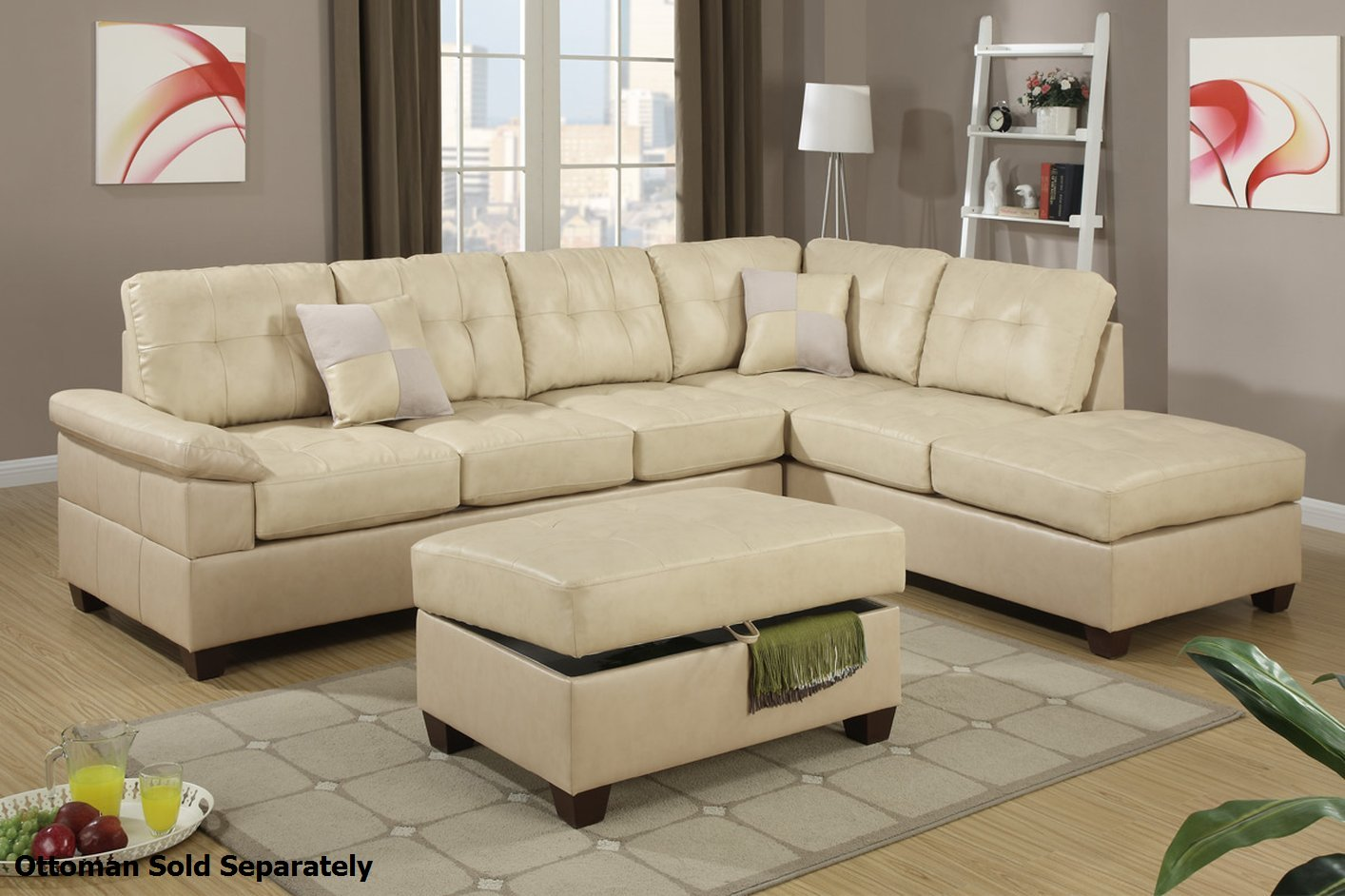 Poundex reese f7520 beige leather sectional sofa steal a for Leather sectional sofa