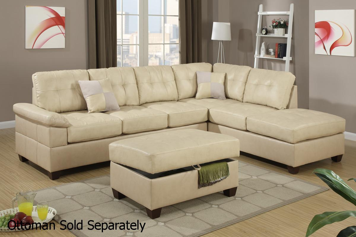 Beige leather sectional sofa steal a sofa furniture for Sectional couch