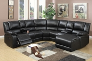 Reno Black Leather Reclining Sectional