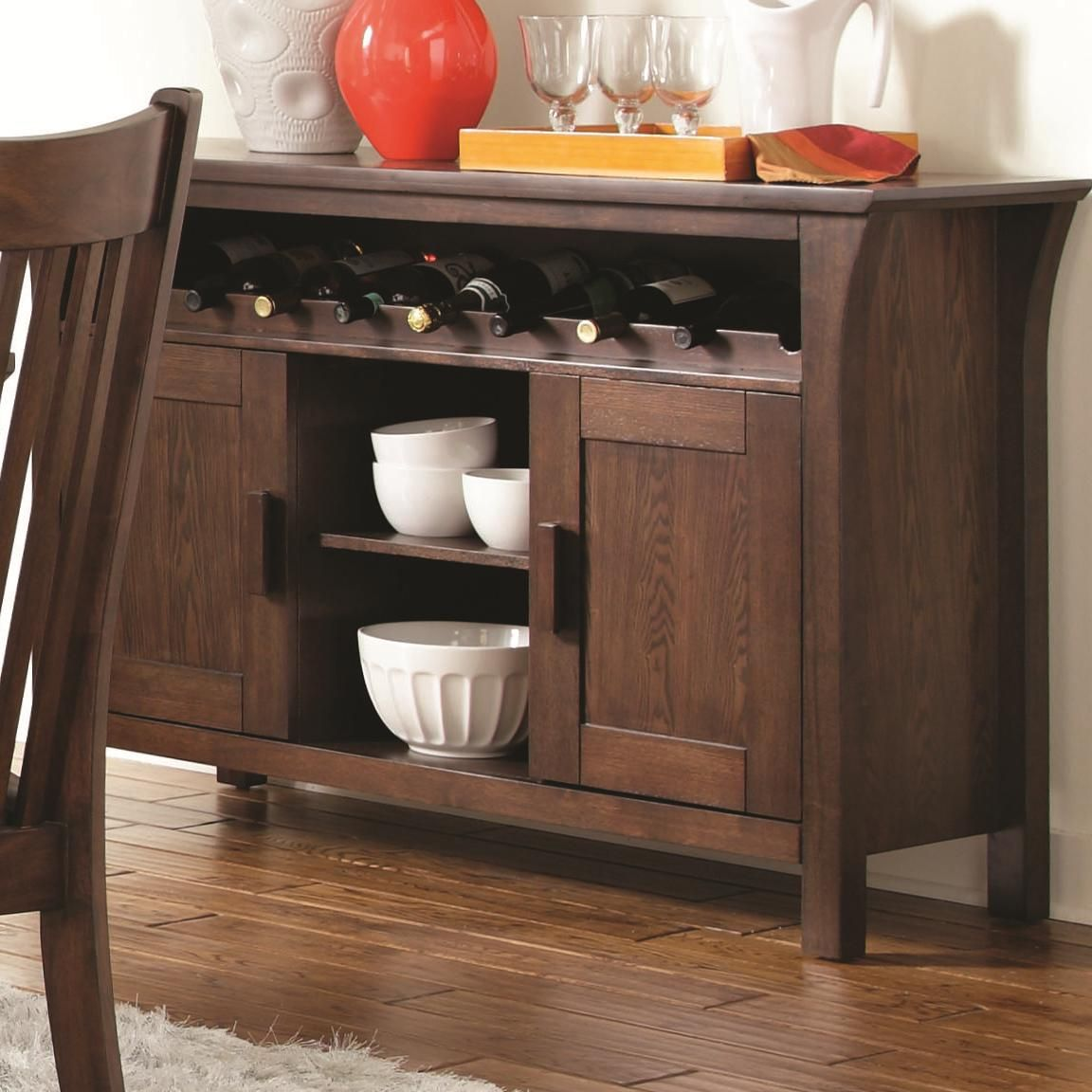 Coaster rivera 103645 brown wood buffet table in los for Table buffet
