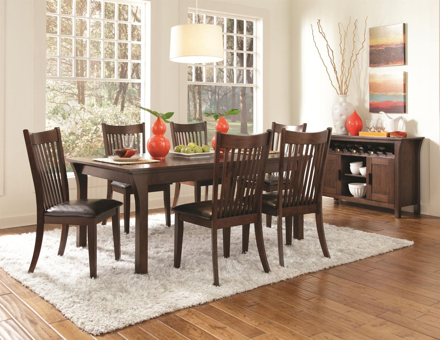 Rivera dark merlot wood dining table set steal a sofa for Ensemble table buffet
