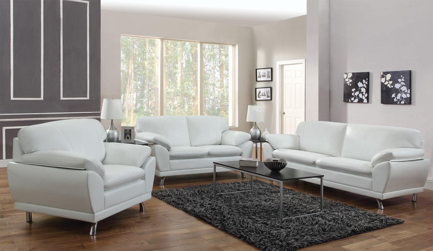 Living Room Sets Los Angeles robyn white leather loveseat - steal-a-sofa furniture outlet los