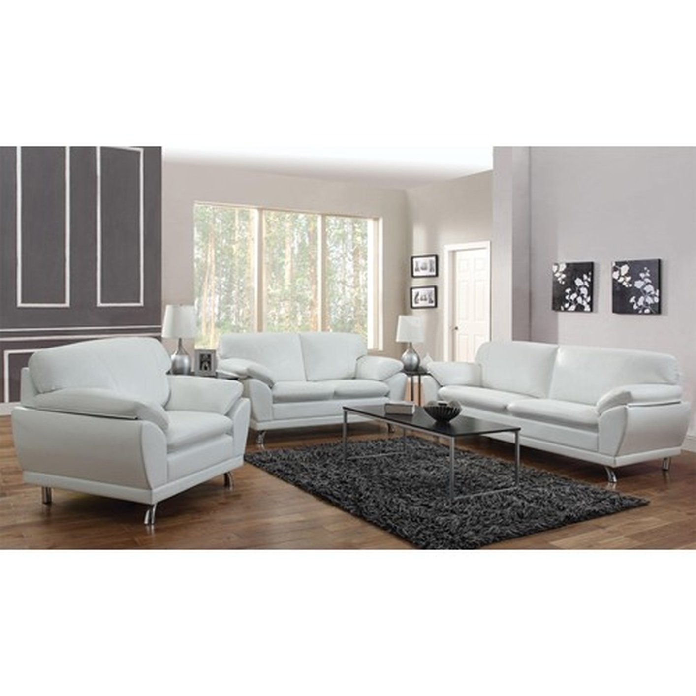 Robyn White Leather Sofa - Steal-A-Sofa Furniture Outlet Los Angeles CA