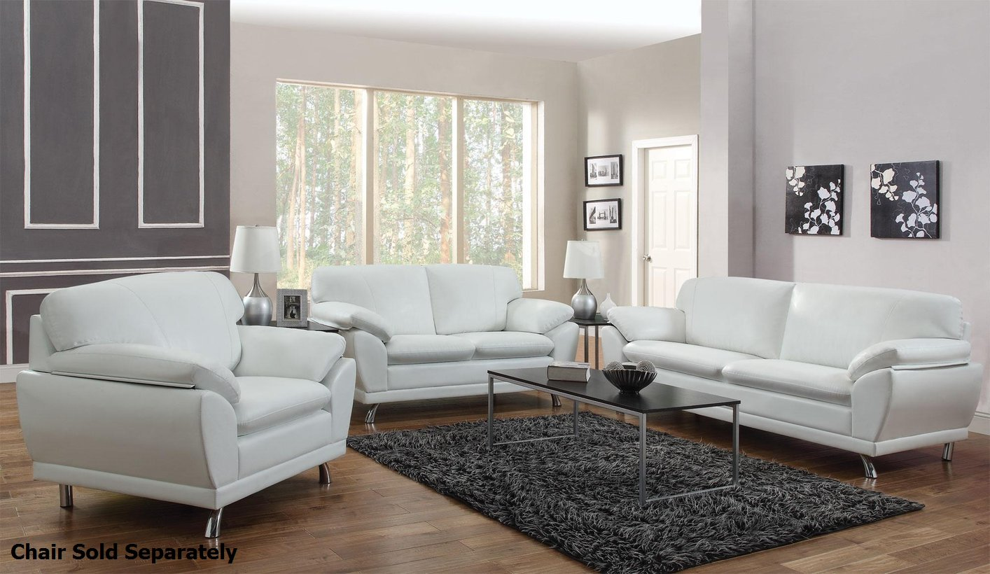 Robyn White Leather Sofa and Loveseat Set - Steal-A-Sofa Furniture ...
