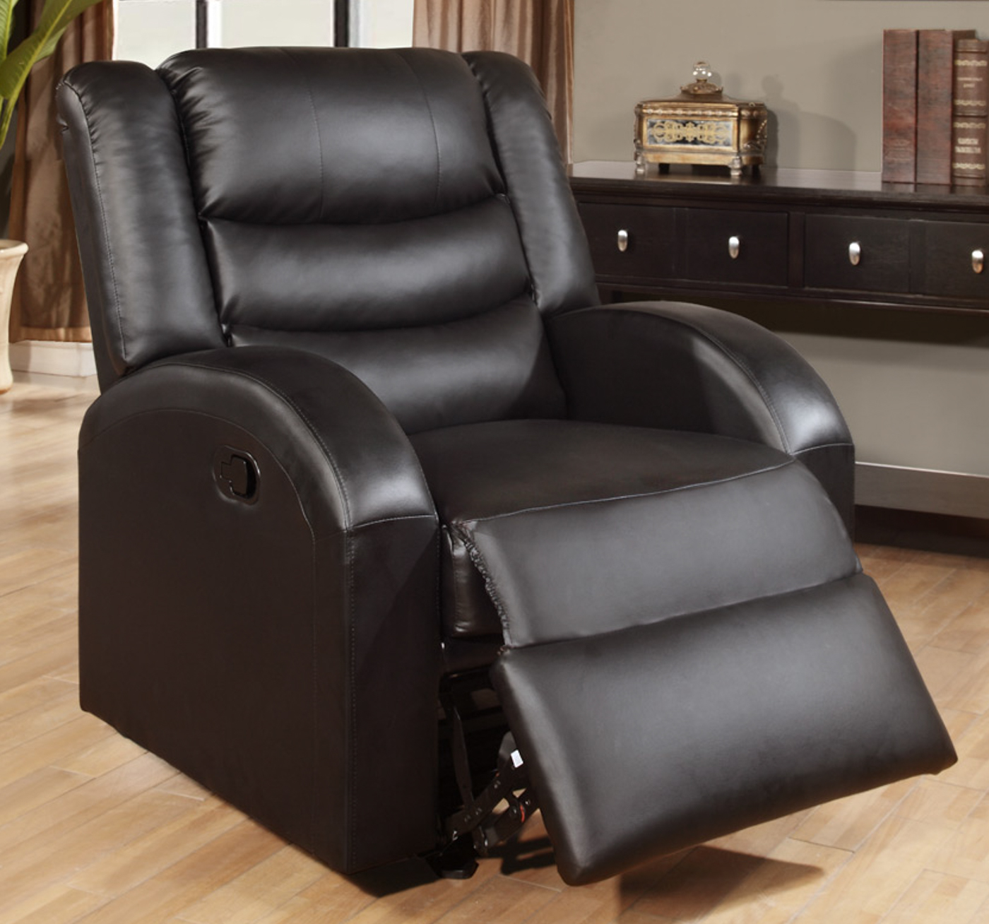Black Leather Sofa With Recliner: Black Leather Rocker Recliner Chair