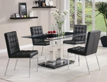 Rolien Silver Metal And Glass Dining Table Set