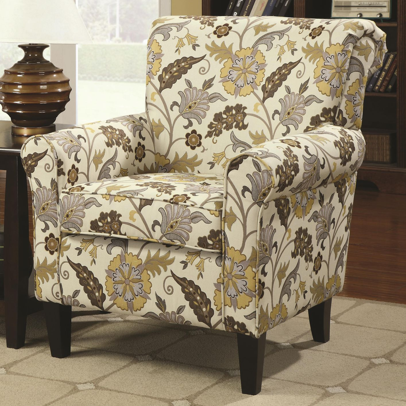 Rosalie Yellow Fabric Accent Chair