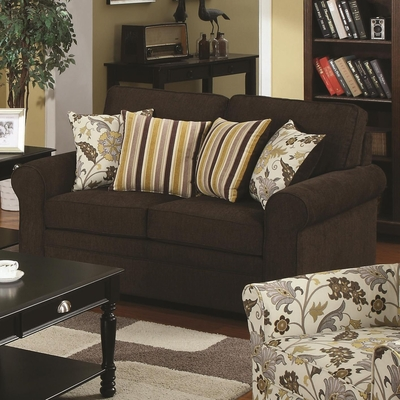 Rosalie Brown Fabric Loveseat