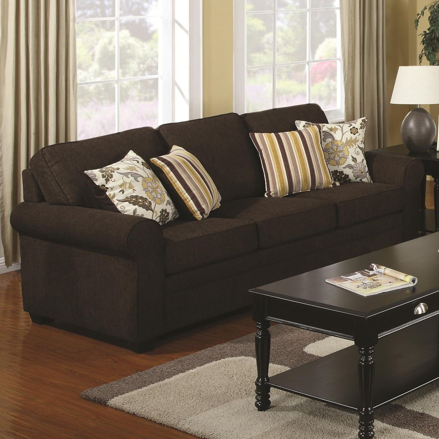 Coaster rosalie 504241 brown fabric sofa steal a sofa for Black fabric couches