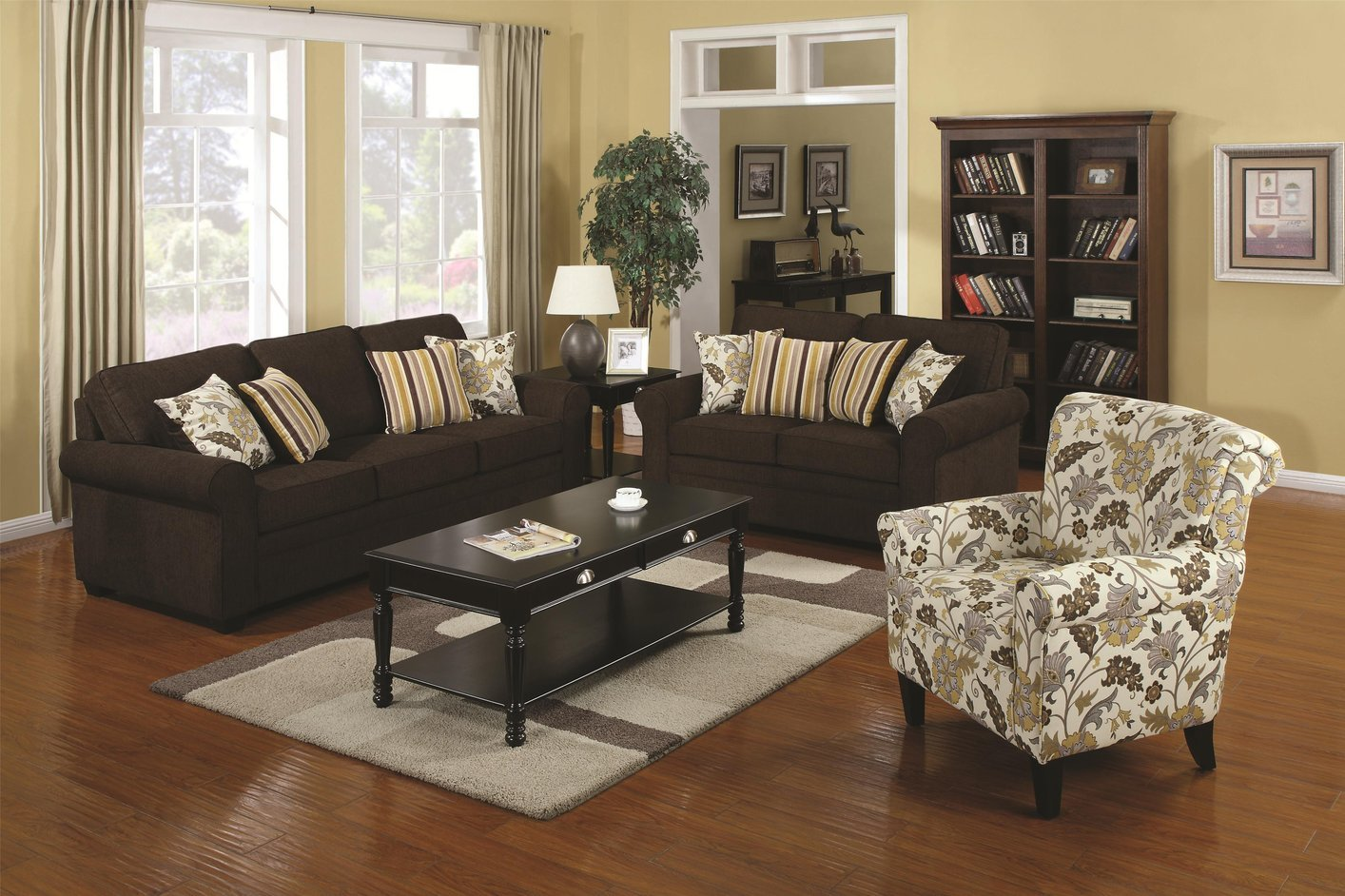 Coaster rosalie 504241 brown fabric sofa steal a sofa for Brown fabric couch