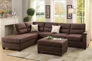 Rousey Brown Fabric Sectional Sofa and Ottoman