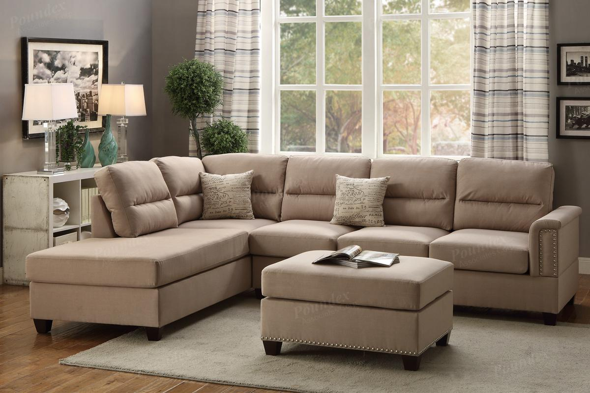 Rousey Brown Fabric Sectional Sofa and Ottoman : sectional sof - Sectionals, Sofas & Couches