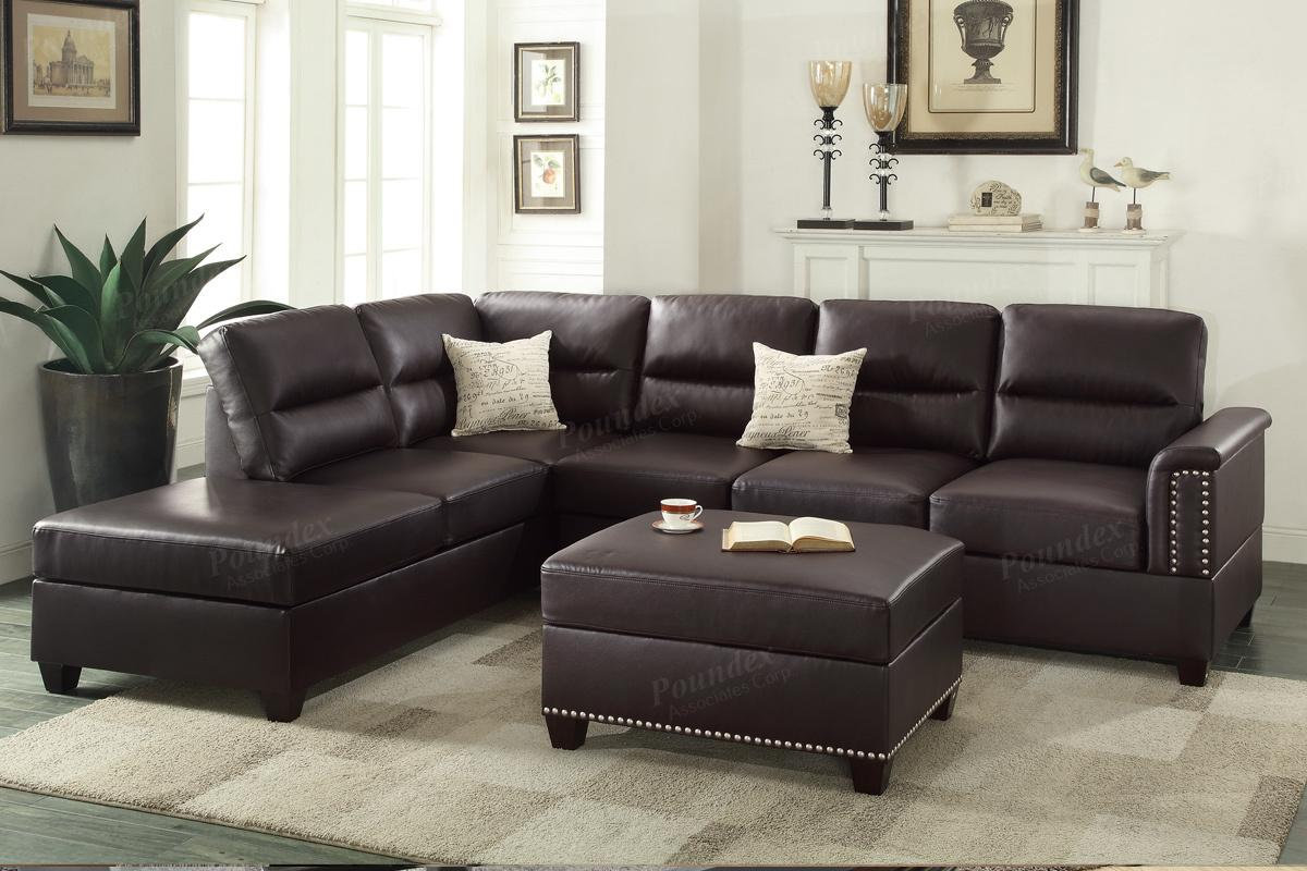 Poundex rousey f7609 brown leather sectional sofa steal for Leather sectional sofa