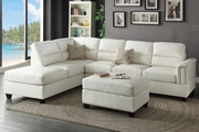 Rousey White Leather Sectional Sofa and Ottoman