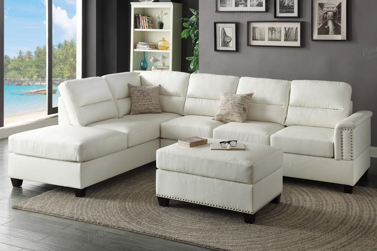 white leather sectional sofa and ottoman steal a sofa. Black Bedroom Furniture Sets. Home Design Ideas