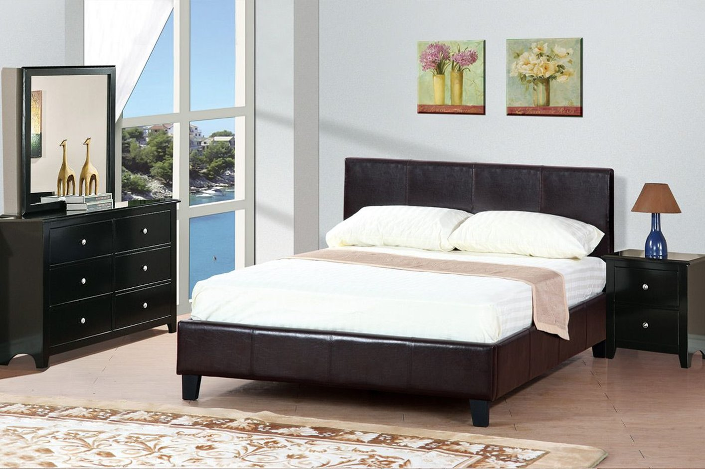 Brown leather queen size bed steal a sofa furniture for Queen size bedroom sets with mattress