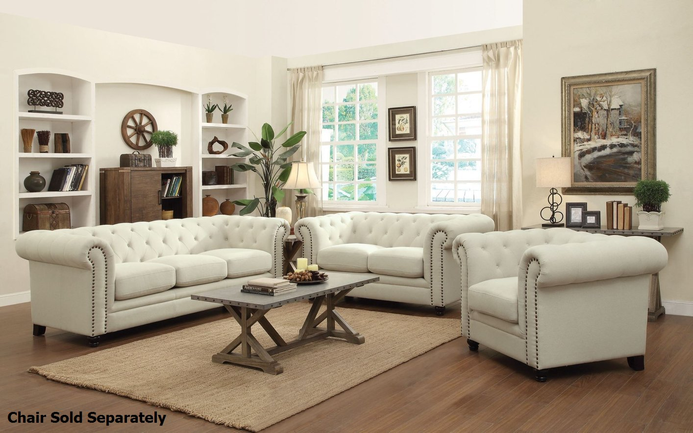 Roy beige fabric sofa and loveseat set