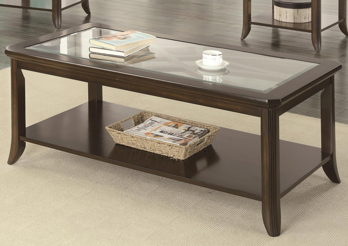 Coaster Roy 702358 Brown Glass Coffee Table Steal A Sofa Furniture Outlet Los Angeles Ca