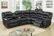 Saltan Black Leather Reclining Sectional
