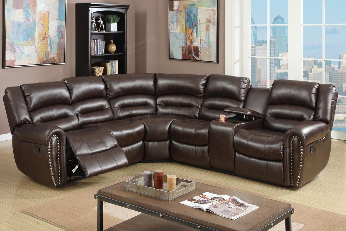 Saltan Brown Leather Reclining Sectional : brown reclining sectional - Sectionals, Sofas & Couches