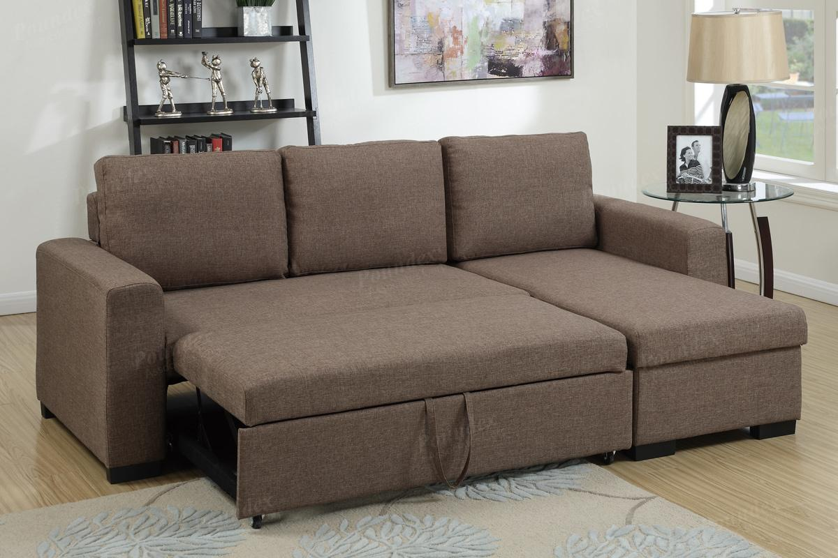 Brown Fabric Sectional Sofa Bed - Steal-A-Sofa Furniture Outlet Los ...