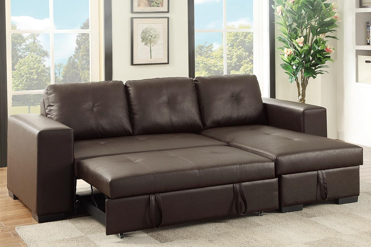 Poundex samo f6930 brown leather sectional sleeper sofa Sleeper sofa sectional