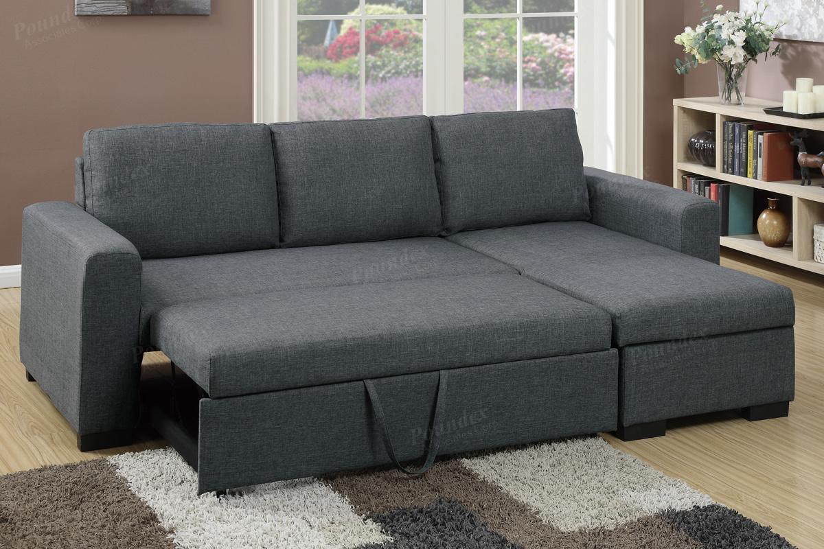 Grey fabric sectional sofa bed steal a sofa furniture for Sectional couch