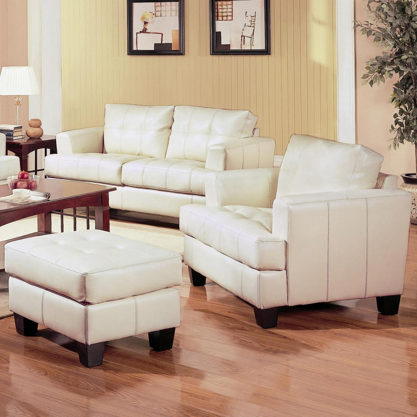 Samuel Beige Leather Ottoman - Steal-A-Sofa Furniture Outlet Los ...