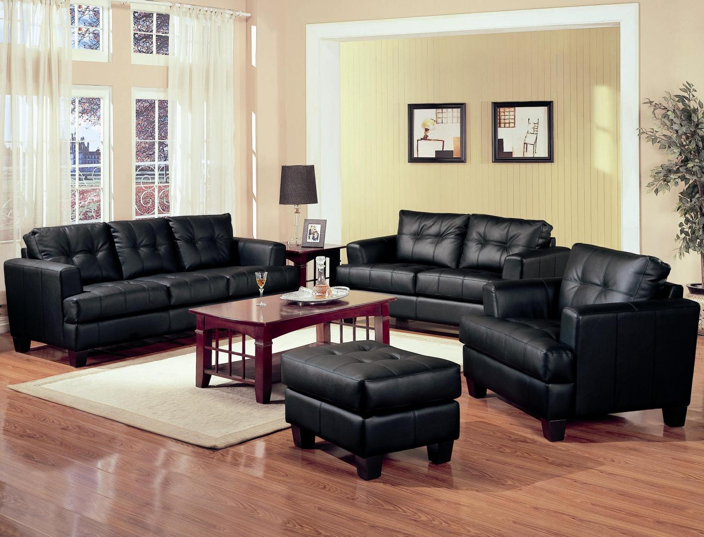 samuel black leather sofa - steal-a-sofa furniture outlet los