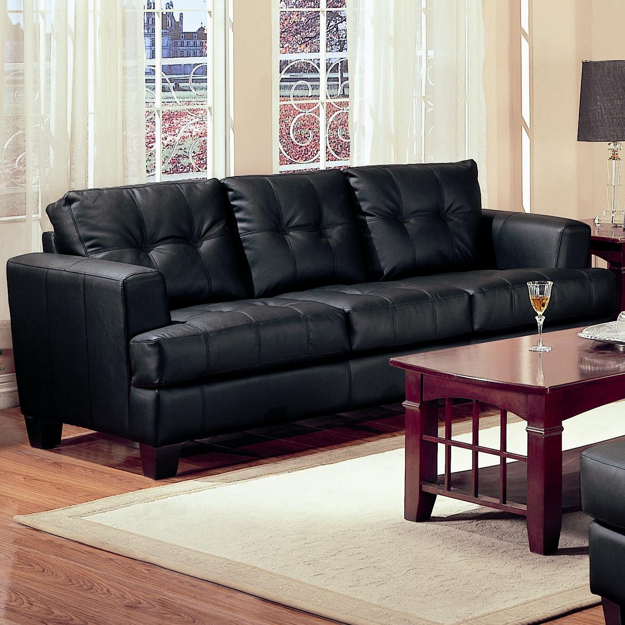 Ordinary Black Leather Couch Part - 10: Samuel Black Leather Sofa