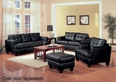 Samuel Black Leather Sofa and Loveseat Set