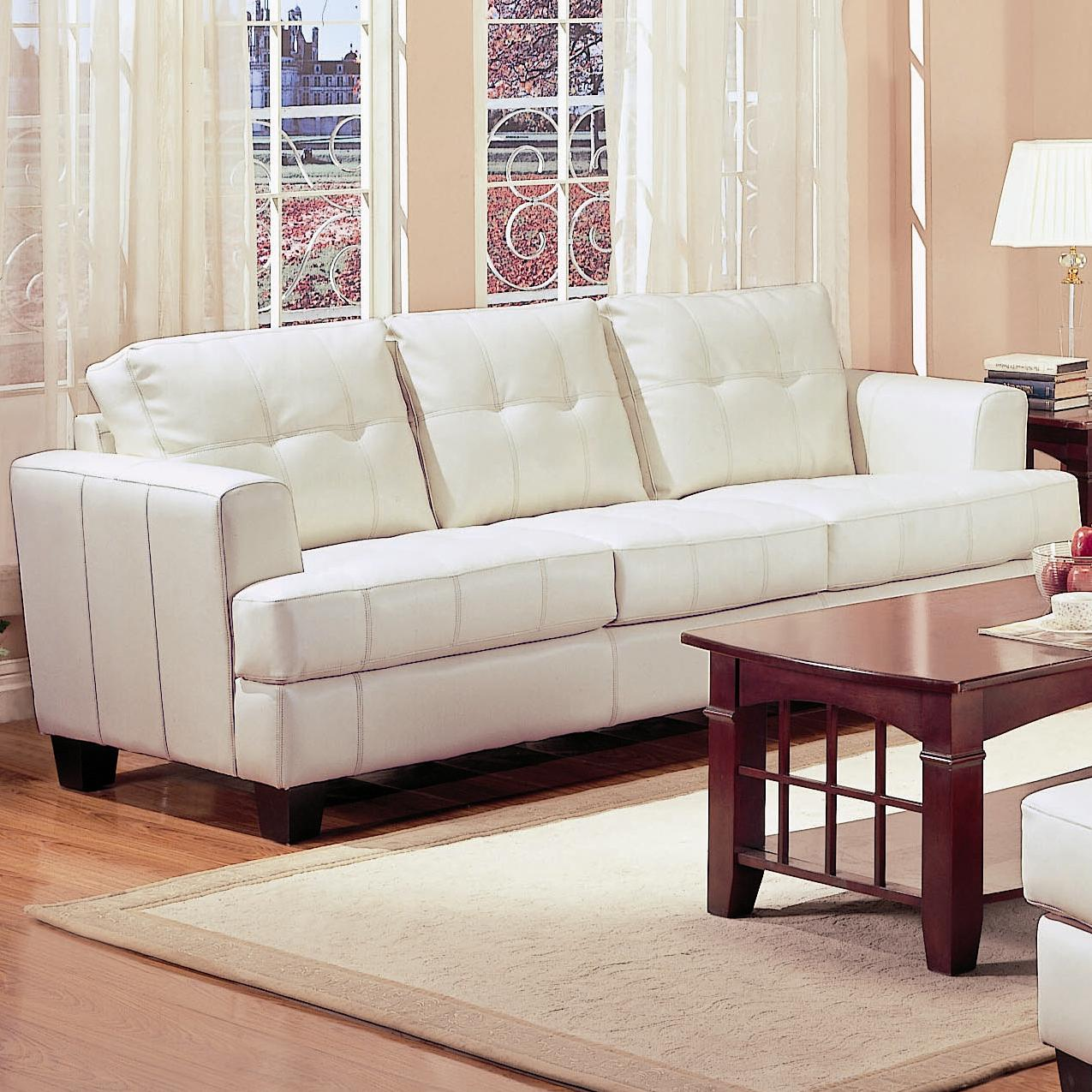 Samuel Beige Leather Sofa