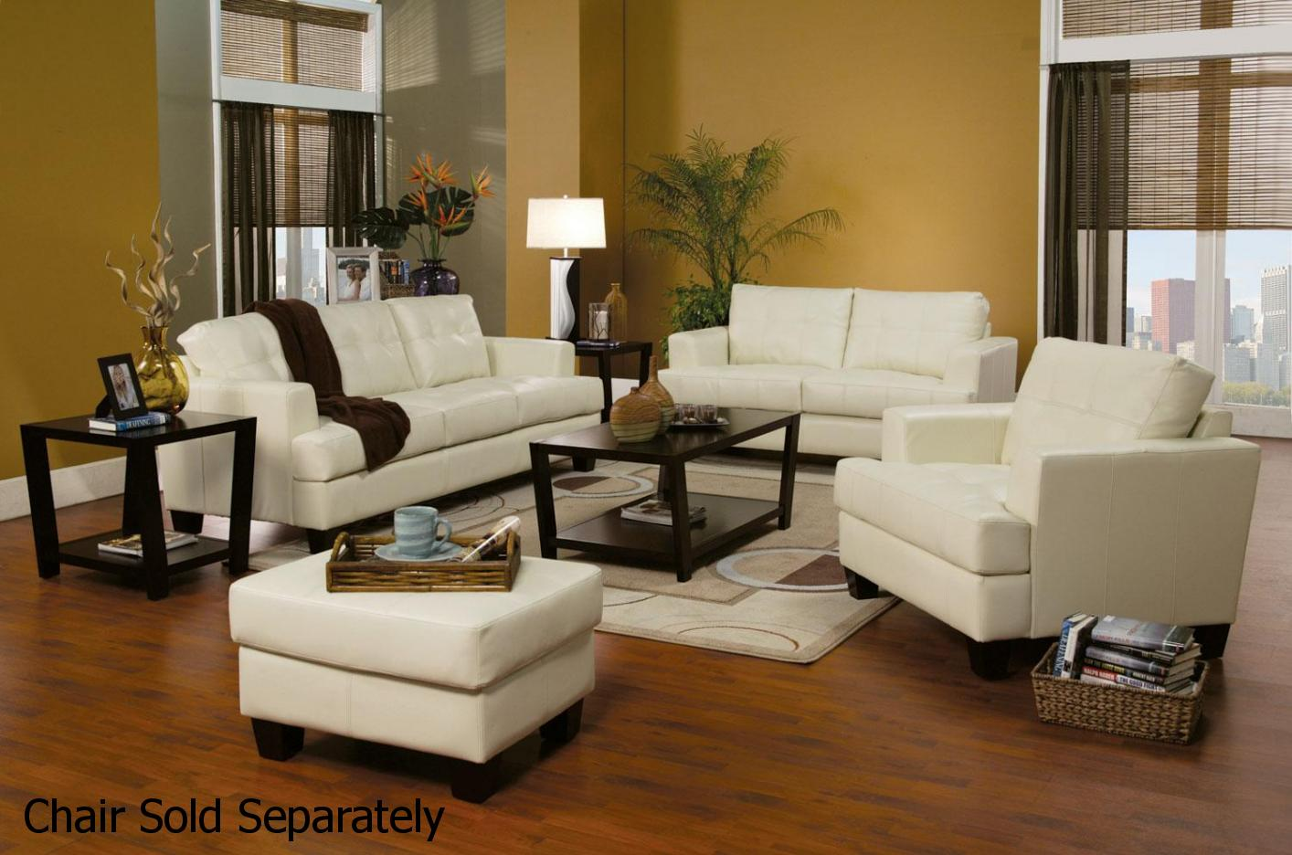 Samuel White Leather Sofa and Loveseat Set - Steal-A-Sofa Furniture ...