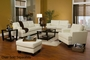 Samuel White Leather Sofa and Loveseat Set